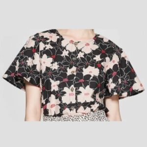 NWT Who What Wear Floral Print Short Sleeve Top
